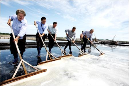 Сбор морской соли в Корее