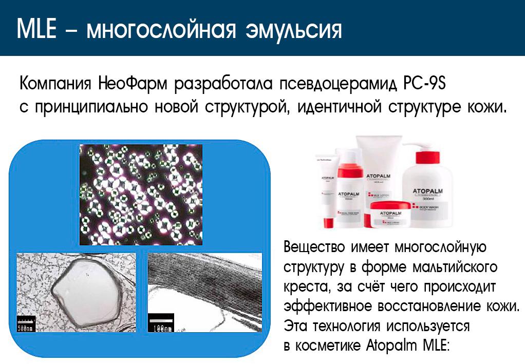 Atopalm MLE - косметика с многослойной эмульсией.