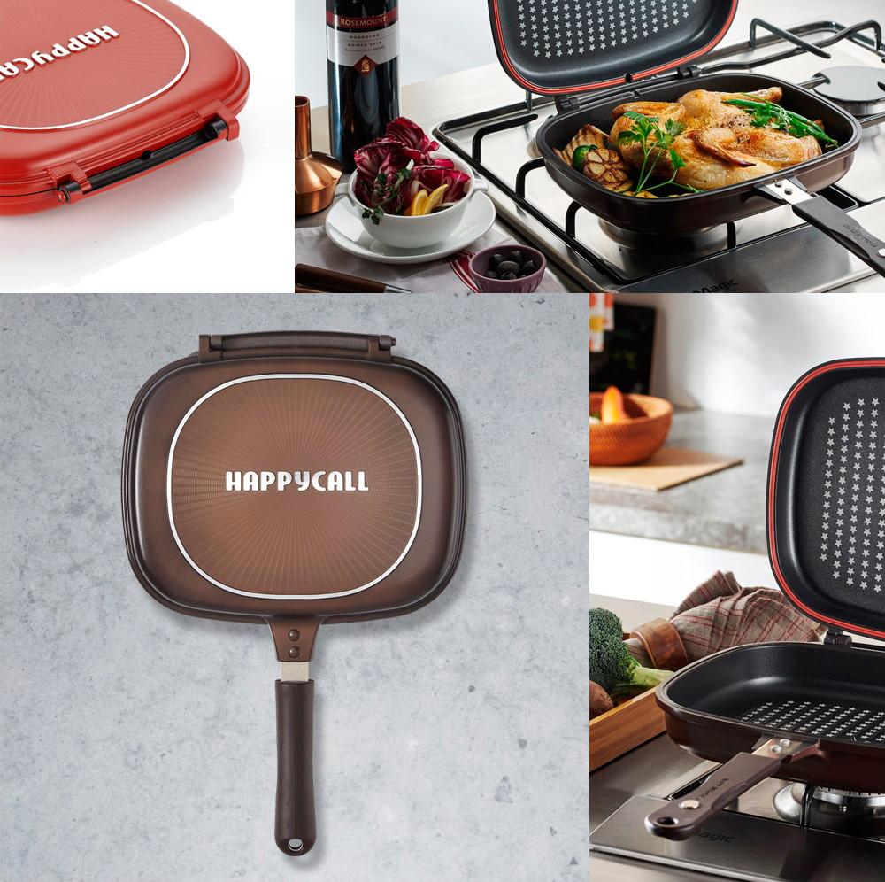 Двойная сковорода для приготовления гриля Jumbo от Happycall.