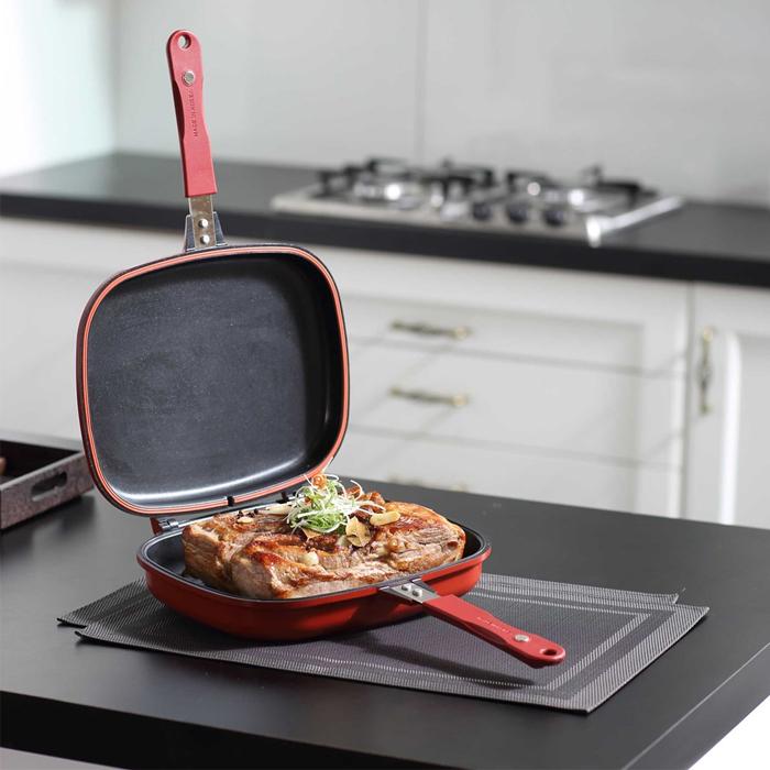Готовка на двойной сковороде гриль Jumbo.