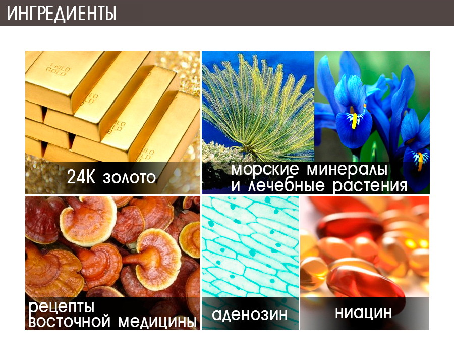 Активные компоненты крема 24K Gold Mineral от Elishacoy.