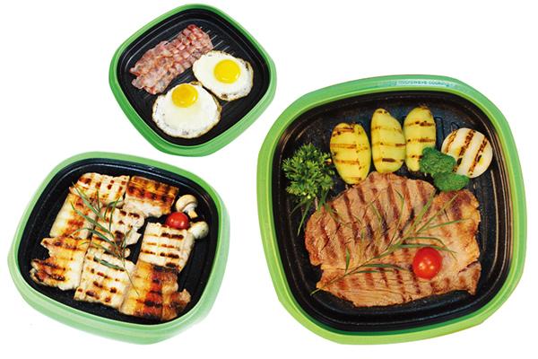 Вкусные и здоровые продукты в квадратной сковородке Range Mate.