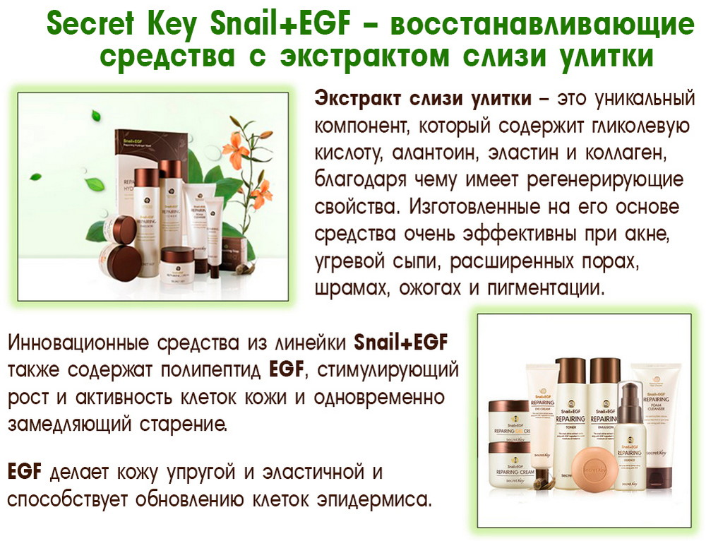 Корейская косметика с экстрактом слизи улитки Snail+EGF. Свойства слизи улитки.