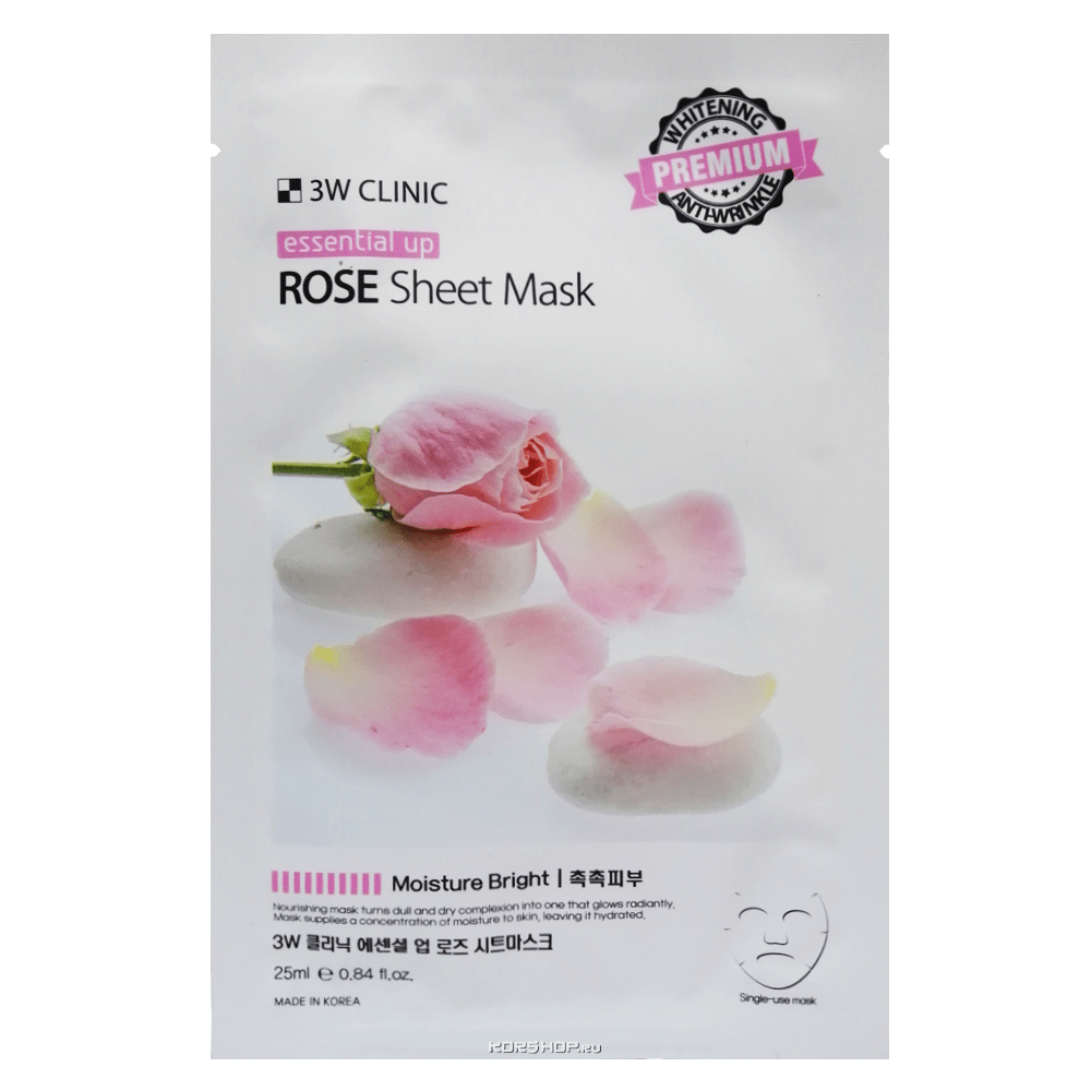 Маска для лица с экстрактом розы Essential Up Sheet Mask 3W Clinic, Корея, 25 мл