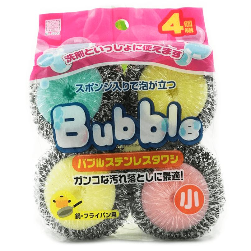 """Губка кухонная """"Пузырь"""" со стальной спиралью в сеточке Kokubo, 4 шт"""