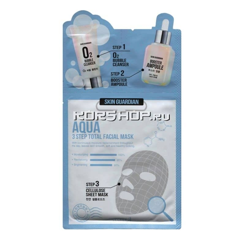 Трёхшаговая увлажняющая маска Skin Guardian Aqua 3 Step, Корея